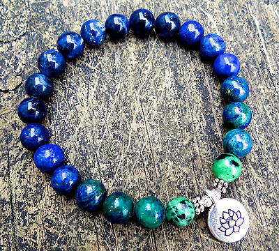 Ruby zoisite, azurite, lapis lazuli and sodalite bracelet w/ silver plated lotus