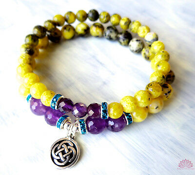 Yellow turquoise and faceted amethyst bead bracelet w/ silver Celtic knot