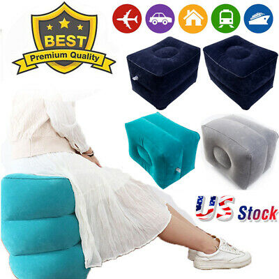 Inflatable Travel Footrest Leg Foot Rest Car Seat Pillow Portable Pad Bed US