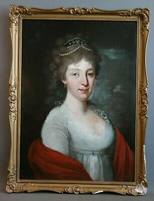 Ca.1800 Antique 19thC Neoclassical LADY Old NOBLEWOMAN Oil PORTRAIT PAINTING