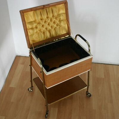 50er 60er JAHRE SEWING BOX ROCKABILLY VINTAGE DESIGN NÄHTISCH NÄHKASTEN (6746)