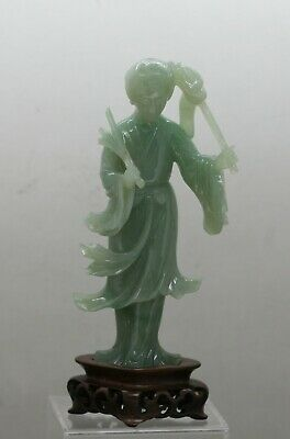 Exquisite Delicate Antique Chinese Hand Carved Solid Jade Statue Circa 1920s