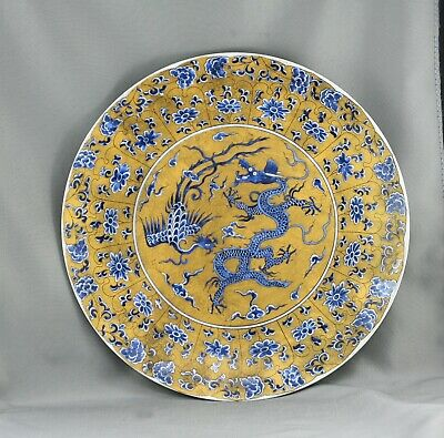 Very Fine Vintage Chinese Porcelain Display Plate Blue On A Gold Background