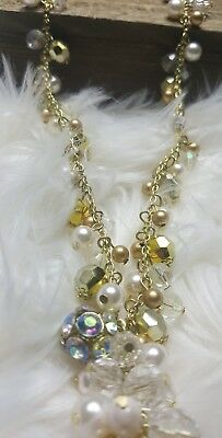 Womans Gold Pearl Diamond Crystal Dangle Necklace Body Central Super Cute NEW