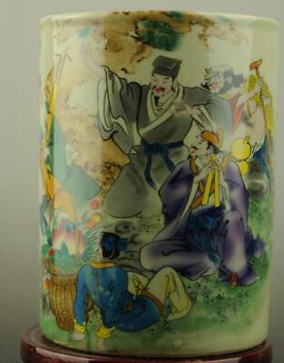 China antique famille rose porcelain Hand painted Eight Immortals brush pot