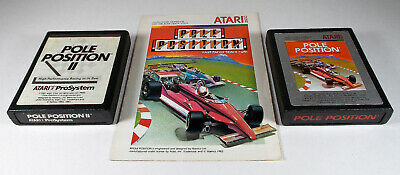 Lot Of Two (2) Different Pole Position Atari Games & (1) Manual Tested & Working