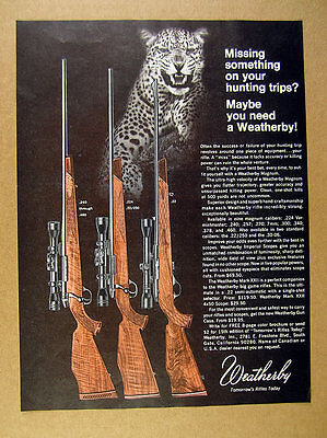 1969 Weatherby Magnum Rifles leopard photo vintage print Ad