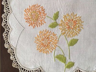 Vintage embroidered linen centrepiece doily - beautiful golden chrysanthemums