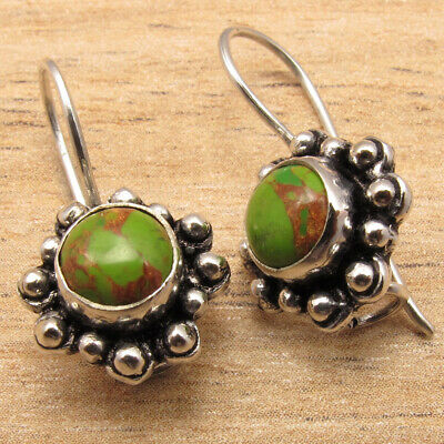 925 Silver Plated GREEN COPPER TURQUOISE Old Style Old Style HANDWORK Earrings