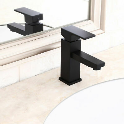 Single Hole 1 Handle Brass Deck Mounted Taps Bathroom Sink Faucet in Solid Black