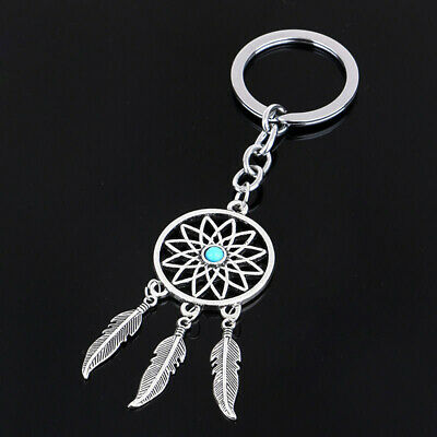 Metal Key Ring Chain Silver Feather Tassels Dream Catcher Keyring Keychain Gifts
