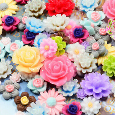 50pcs Mix Resin Rose Flower Flatback Appliques For Phone/wedding/DIY Crafts