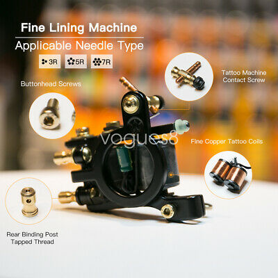 Top Professional Tattoo Machine Gun Wraps Steel Frame Copper Coil Liner WQ4144 V