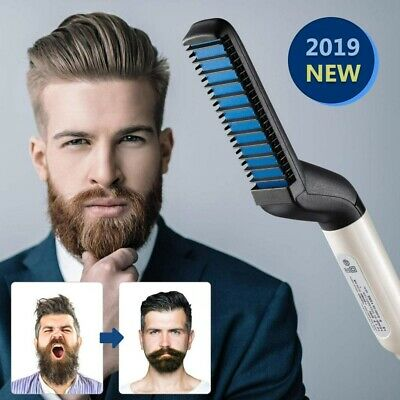 Men Quick Hair Styling Comb Electric Heating Hair Straightener Brush Beard Gifts