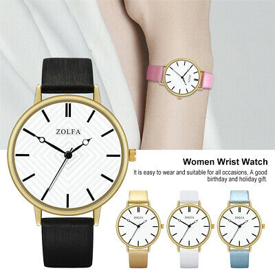 Fashion Ladies PU Leather Analog Watch Women Strap Quartz Wrist Watches Gift HL