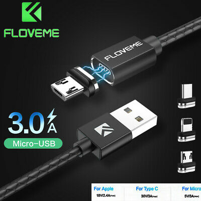 FLOVEME 3A Magnetic Micro USB Type-C Fast Charger Data Cable For iPhone Samsung