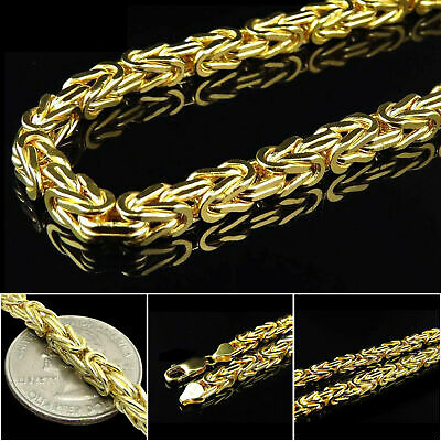 """14k Yellow Gold Solid 4mm Mens Womens Square Byzantine Chain Necklace 16""""-30"""""""