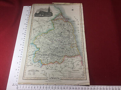 antique map of Northumberland circa 1855 vintage / engraving