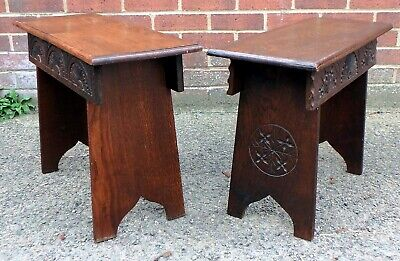 Near pair Edwardian antique Arts & Crafts solid carved oak footstools stools