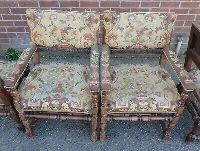 Set 6 Edwardian antique solid walnut original tapestry Charles II dining chairs