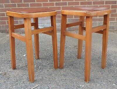 Pair 1950s vintage solid bentwood beech retro bar dressing kitchen dining stools