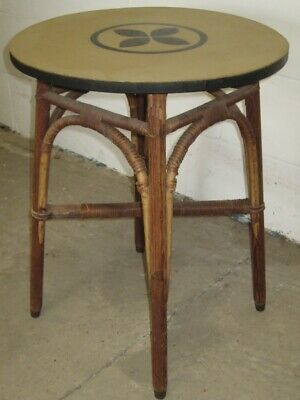 Edwardian antique Arts & Crafts pine rattan round occasional side lamp pub table