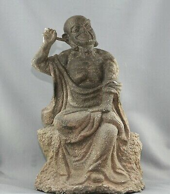 Extremely Rare Antique Chinese Rock Carving Of A Lohan Monk Circa 15th Century