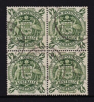 1949 Coat of Arms 2 Pound Green Block of 4 pre-decimal Australia Stamps used