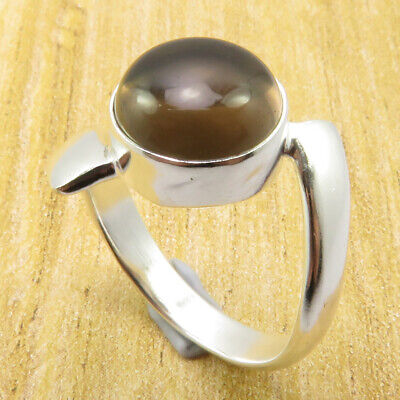 Rare Smoky Quartz Size 7 Ring GORGEOUS Silver Plated Jewelry GIFT FOR LOVED ONES