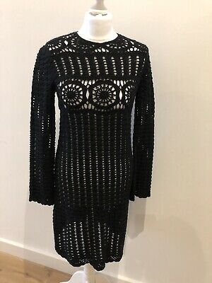 766f7dc995 ISABEL MARANT DAVY Black Crochet Dress Fr 36 Uk 8 -  303.35
