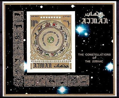 Ajman 1972 Lunar Zodiac Signs Astrology Constellation Stars Space m/s Imperf MNH