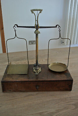 19th century French brass & Steel beam scales in Oak case  17.5 inches high