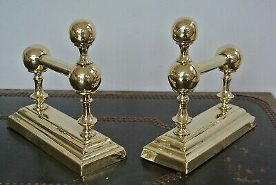 Pair Victorian brass fire-dogs fire irons rest for fireplace circa 1890 14