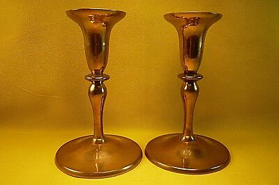 "PIER 1 BRASS CANDLE HOLDERS-Pair-6"" Tall-Base is 3 3/4-Nice Classic Style"