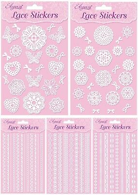White Lace Self Adhesive Craft Stickers - Eleganza - Cards Scrapbooking