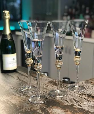 4177d3c57ee6 Gold Diamante Ball Champagne Flutes - Set of 4 Wedding Engagement Glasses