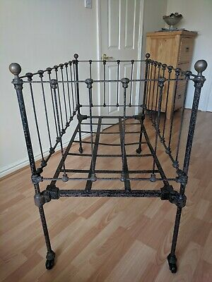 """Victorian Painted Iron and Brass Cot Bed/Day Bed Display Prop L50"""" x W25"""" x H38"""""""