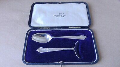 Walker & Hall Antique Sterling Silver Albany Baby Pusher & Spoon 1917