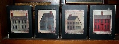 Primitive Rustic Saltbox Houses Four Piece Wooden Shelf Sitter Block Set