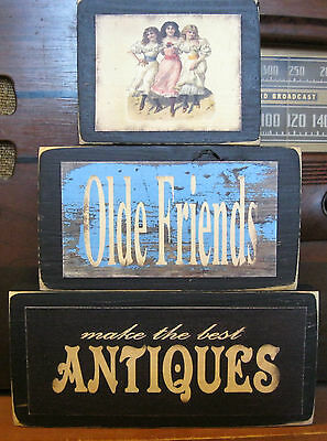 Old Friends are Best Antiques Primitive Rustic Stacking Blocks Wooden Sign Set