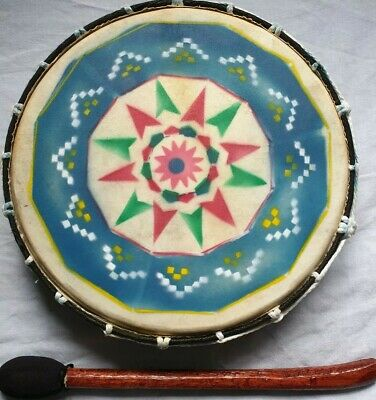 Fair Trade Hand Painted Wooden Native American Shamanic Drum 30cms