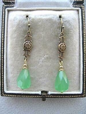 Lush Vintage Art Deco Inspired Frosted Green Crystal Drop Earrings