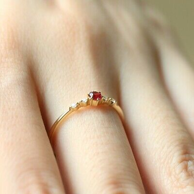 14k gold 4 tiny diamond simulation pieces of exquisite small fresh ladies ring
