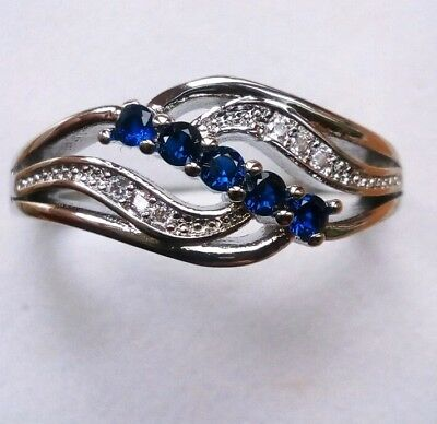 925 Sterling Silver Art deco Vintage Blue White Sapphire cluster scroll Ring R