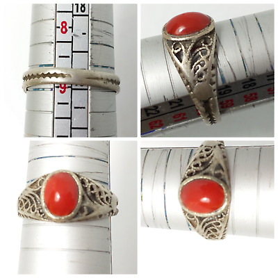 Real coral Solid silver ring