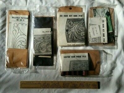 Lot of 5 Vintage Tandy Leather Kits Coin Purse Billfolds Key Case New Sealed