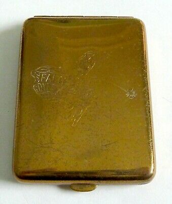 A Vintage Art Deco Brass Advertising Match Book Case - Fairy Dyes