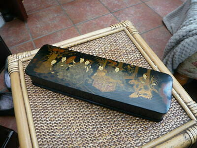 Antique Vintage Old Chinese Lacquered Paint Brush Box