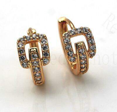 18K Gold Filled Earrings Square Hollow Gems Topaz Zircon Hoop Stud Prom Party HB