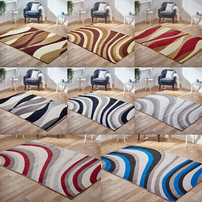 Waves Curves Grey Budget All Type Rug New Alpha Clearance Rugs Modern Rug Runner